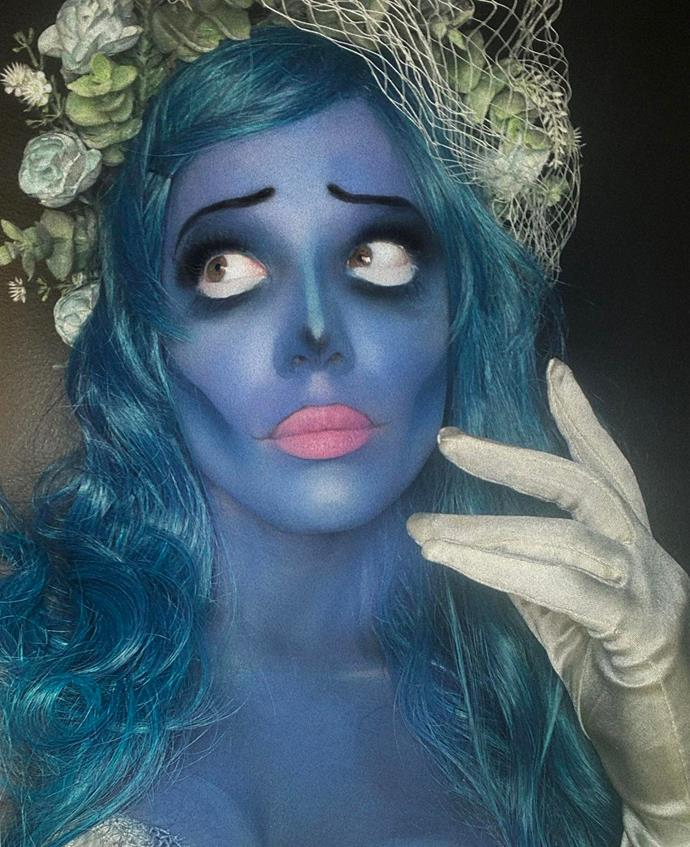 Halsey as Emily from *Corpse Bride*.