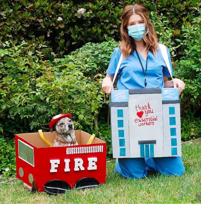 Katherine Schwarzenegger and her dog, Mav, as frontline workers.