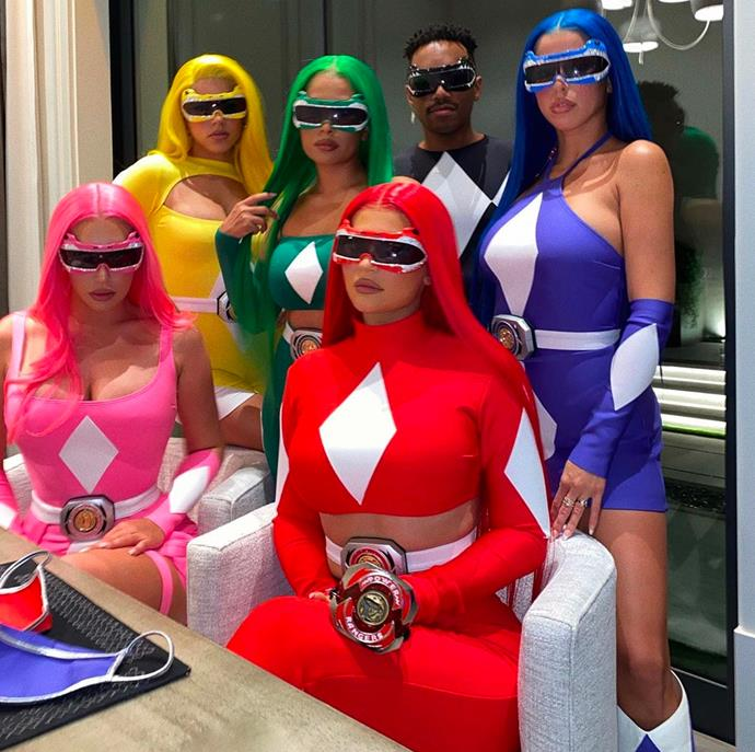 Kylie Jenner and friends as The Power Rangers.