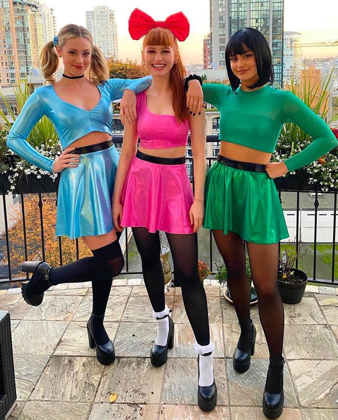 Lili Reinhart, Madelaine Petsch and Camila Mendes as the Powerpuff Girls.
