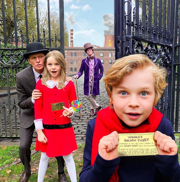 Neil Patrick Harris, David Burtka, Harper and Gideon as *Willy Wonka and The Chocolate Factory*.