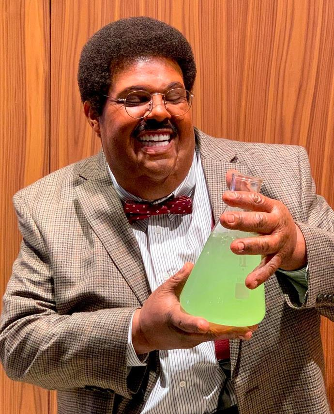 The Weeknd as Sherman Klump from *The Nutty Professor*.