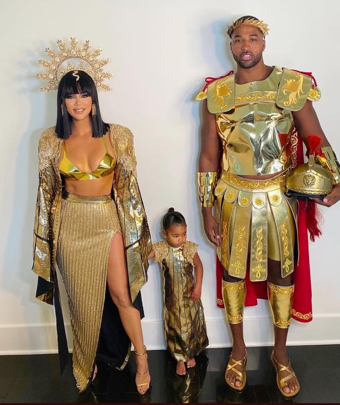 Khloé Kardashian as Cleopatra, True Thompson as her Royal Highness and Tristan Thompson as Mark Antony.