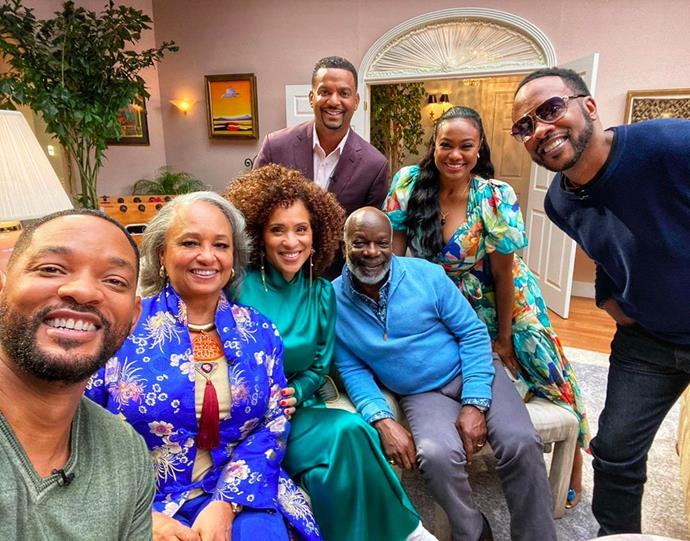"""***Fresh Prince Of Bel Air*** <br><br> To celebrate the 30 years since *The Fresh Prince of Bel-Air* first aired, the cast reunited to reminise about old times. Will Smith shared a cast selfie on [his Instagram](https://www.instagram.com/p/CE-Xq_IB7_z/