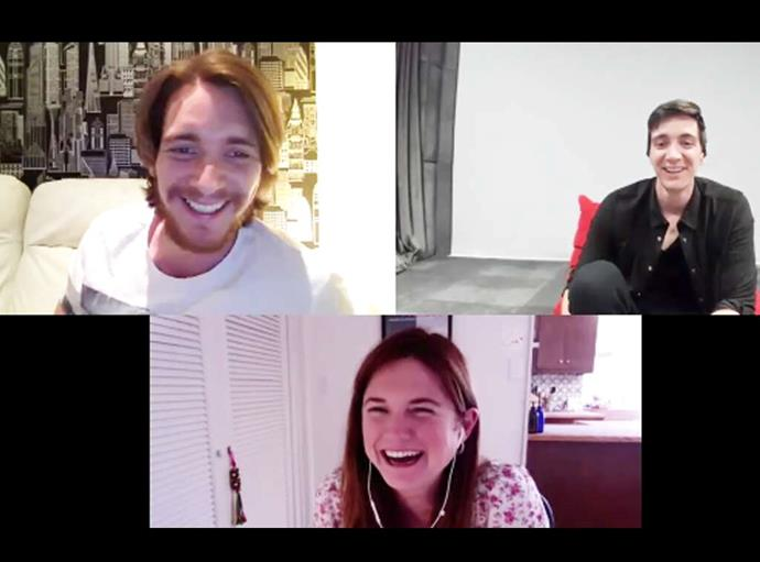 """***Harry Potter*** <br><br> Bonnie Wright and James and Oliver Phelps virtually reunited in July 2020 for the twins' podcast *Double Trouble*. While it's been nearly 20 years since the cast first met on the iconic film, Wright and the boys recalled meeting their """"film family"""" when they shot the King's Cross station scene in the first movie."""
