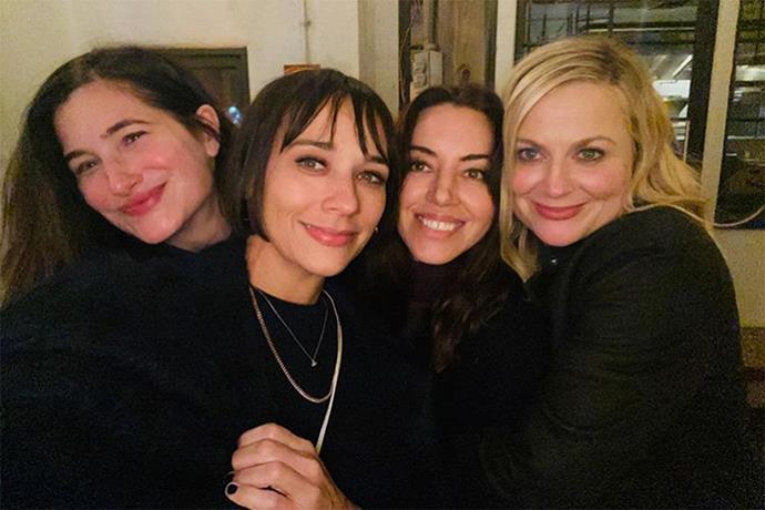 ***Parks and Recreation*** <br><br> In honour of Galentine's Day, the holiday that the TV series created, Aubrey Plaza shared a selfie with her former costars and real-life friends Amy Poehler, Rashida Jones and Kathryn Hann.