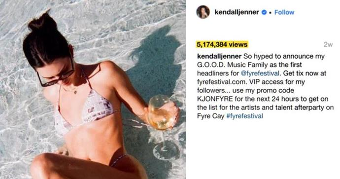 **Kendall Jenner's Fyre Festival Promo** <br><br> She wasn't the only model to earn a pretty penny (around $380,000 AUD) for a single Instagram post, but followers were quick to condemn the star for not doing proper research when she has such a huge following and influence. <br><br> The festival which, as we all know, never really happened, was a disaster and left many people, including the island's locals, out thousands of dollars. The organiser, Billy McFarland, was sentenced to six years in prison for defrauding investors and ticket holders. <br><br> KJ wound up in court and was forced to pay a settle of around $124,000 AUD for her part in endorsing the event.