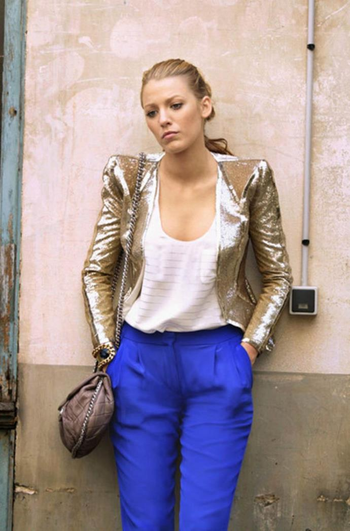 **This glitzy daytime brunch outfit:** Because bright blue pants and a gold sequinned blazer are the perfect attire for eating pancakes.