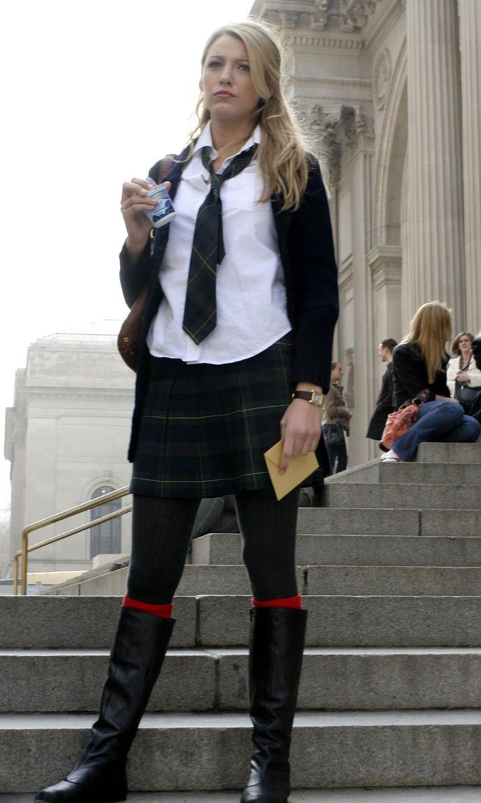 **Her school uniform:** Despite Australia's far more strict uniform standards, Serena's school attire inspired plenty of us to loosen our ties, un-tuck our shirts, wear our hair tousled and opt for preppy knee-high socks.