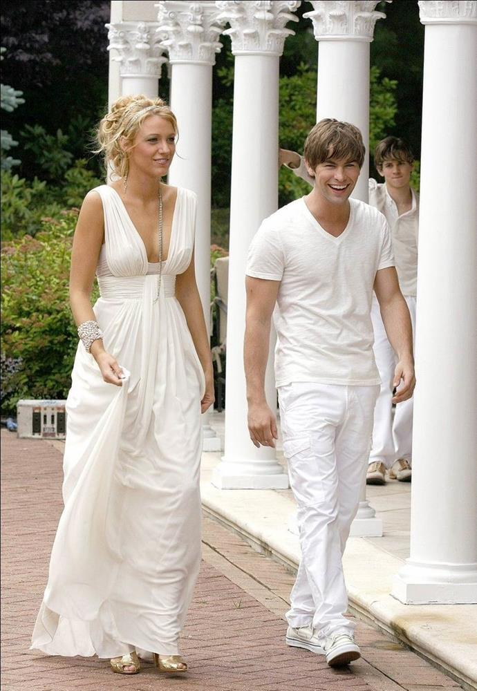 **Her white party look:** This was a landmark episode, not only for its romantic drama, but also for its enviable fashion. Everyone from Topshop to Forever New had a version of Serena's white maxi dress.