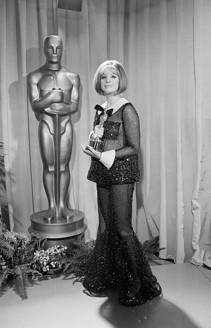 "**Barbra Streisand's see-through suit at the Oscars (1969)** <br><br> Streisand won her first Oscar for her performance in 1968's *Funny Girl*, in a rare tie with Katharine Hepburn. Few could ever forget the star's iconic beaded suit, but Streisand later revealed she had no idea the suit would actually have a sheer effect when viewed under flashing lights. <br><br> In a 2016 interview with [*W*](https://www.wmagazine.com/story/barbra-streisand-interview-w-magazine-photographed-steven-meisel/|target=""_blank""