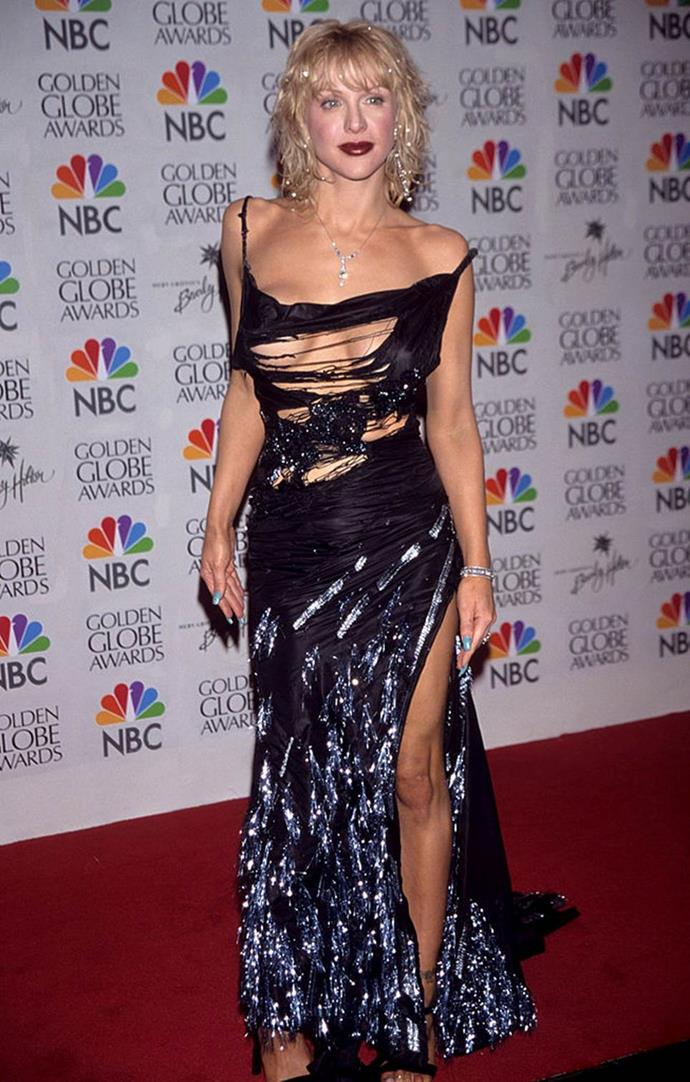 "**Courtney Love's shredded Dior dress at the Golden Globes (2000)** <br><br> Hailing from a Dior collection inspired by homelessness (make of that what you will), Courtney Love attended the 2000 Golden Globes in this intentionally-shredded gown, which was tried on by another major star before she wore it. <br><br> In a 2019 interview with *[The Guardian](https://www.theguardian.com/fashion/2019/apr/02/courtney-love-i-thought-this-dress-is-crazy-looking-but-ill-make-it-work|target=""_blank""