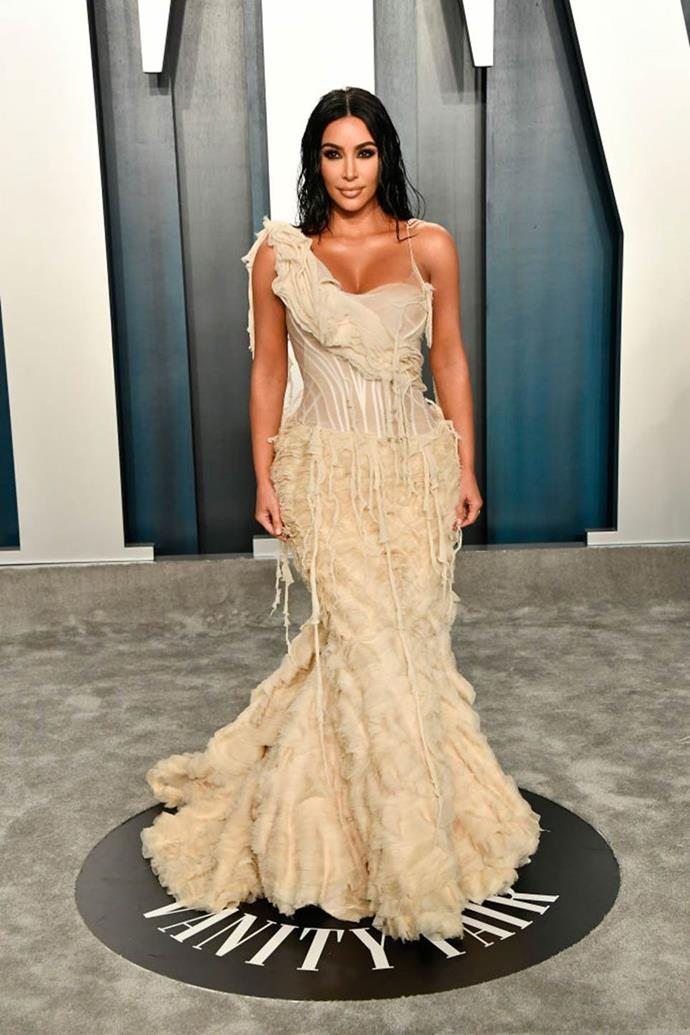 "**Kim Kardashian West's 'Shipwrecked' Alexander McQueen dress at the *Vanity Fair* Oscars Party (2020)** <br><br> When Kim Kardashian West attended the [2020 Oscars after party](https://www.elle.com.au/fashion/oscars-2020-after-party-23016|target=""_blank"") in this Alexander McQueen dress, vintage fashion aficionados knew instantly what a major moment it was. <br><br> Part of McQueen's 'Shipwrecked' spring/summer '03 collection, the look is one of the most iconic made by McQueen during his life. And while KKW owns one of the two gowns in existence (gifted to her by Kanye West, who sourced it from an L.A. vintage collector), the other is on permanent display at the V&A Museum in London."