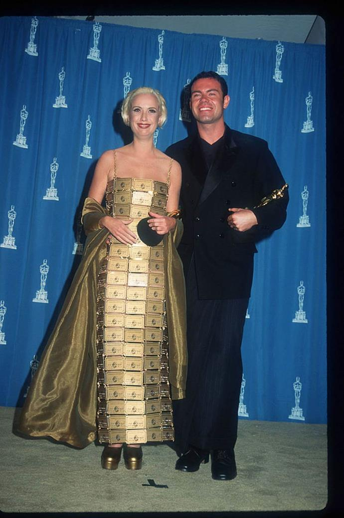 "**Lizzy Gardiner's American Express card dress at the Academy Awards (1995)** <br><br> Australian costume designer Lizzy Gardiner wore this custom-made dress to pick up her Costume Design Oscar for *Priscilla: Queen of the Desert* in 1995. Naturally, the dress (made from real American Express cards, with Grant's name on all of them) received plenty of media attention, and even prompted anger from some viewers. <br><br> In a 2017 interview with *[ABC News](https://www.abc.net.au/news/2017-06-05/priscillas-1995-oscar-win-and-that-dress/8578418|target=""_blank""