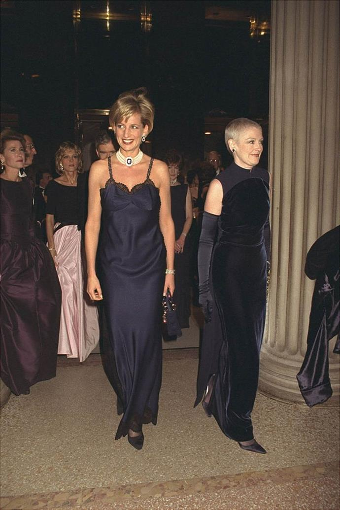 **Princess Diana's lacy Dior at the Met Gala (1996)** <br><br> One year before her passing, Princess Diana attended the 1996 Met Gala in this ethereal silk and lace-adorned Dior dress, one of the house's first red carpet looks designed by John Galliano. <br><br> The look was already somewhat 'scandalous' for a royal to wear, but Galliano revealed Diana took it upon herself to make the dress more revealing, by removing an internal corset herself. We'd have loved to see the look with a corset, but we have no doubt the Princess would've looked stunning either way.