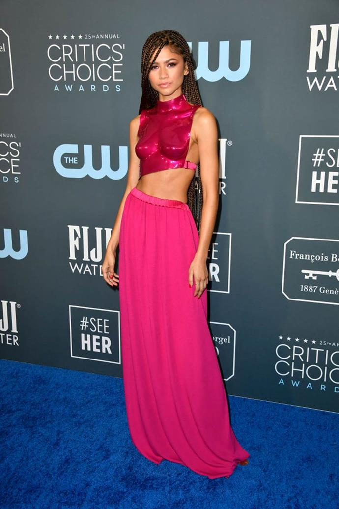 "**Zendaya's Tom Ford breastplate at the Critics' Choice Awards (2020)** <br><br> Few could avert their gaze from Zendaya when the actress stepped onto the red carpet at the [2020 Critics Choice Awards](https://www.harpersbazaar.com.au/fashion/critics-choice-awards-2020-best-dressed-19796|target=""_blank""), wearing a breastplate from Tom Ford's spring/summer '20 collection. While the easy option would be to nab the $15,000 piece from the runway (something [Gwyneth Paltrow](https://www.harpersbazaar.com.au/fashion/gwyneth-paltrow-zendaya-tom-ford-19804
