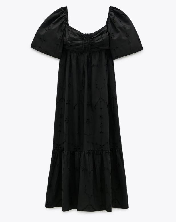 "Dress, $109 by [Zara](https://www.zara.com/au/en/dress-with-cutwork-embroidery-trf-p00881300.html?v1=64158147&v2=1277467|target=""_blank""|rel=""nofollow"")."