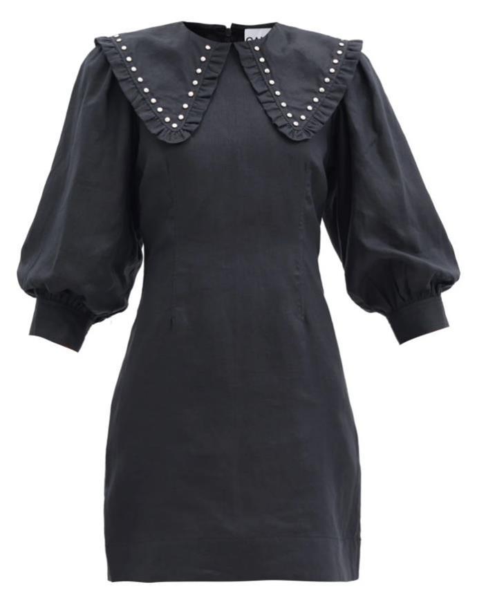 "Studden Linen Midi Dress by GANNI, $460 at [MatchesFashion](https://www.matchesfashion.com/au/products/Ganni-Studded-linen-midi-shirt-dress-1353189|target=""_blank""|rel=""nofollow"")."