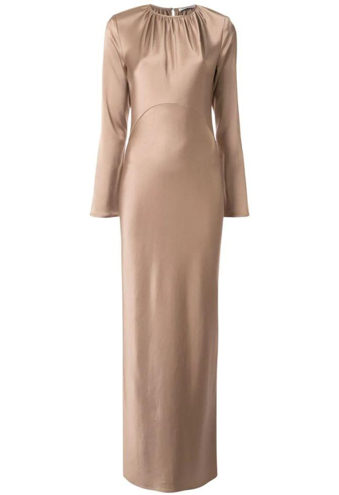 """Elonge Dress by Georgia Alice, $615 at [Farfetch](https://www.farfetch.com/au/shopping/women/georgia-alice-elonge-satin-dress-item-14513377.aspx?size=18&storeid=9991&utm_source=google&utm_medium=cpc&utm_keywordid=138579879&utm_shoppingproductid=14513377-54&pid=google_search&af_channel=Search&c=10110362575&af_c_id=10110362575&af_siteid=&af_keywords=pla-726610269338&af_adset_id=101843889776&af_ad_id=436929439886&af_sub1=138579879&af_sub5=14513377-54&is_retargeting=true&shopping=yes&foundit=yes&gclid=Cj0KCQiAy579BRCPARIsAB6QoIZzgpGs6_2IVhlYlb5JSU5Dlr0lKAjQy3z0x9er7ZpTh3q9utOVF6YaAkB1EALw_wcB target=""""_blank"""" rel=""""nofollow"""")."""