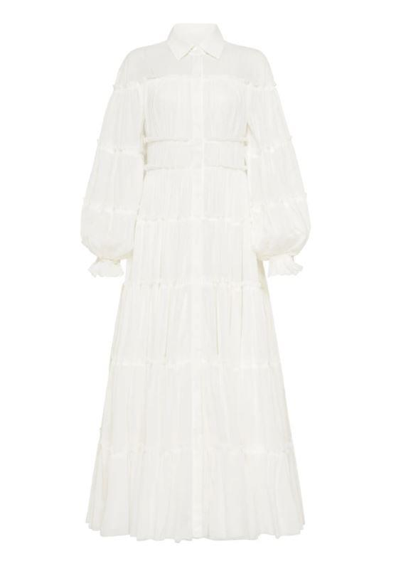 """Serenity Maxi Dress, $695 by [Aje](https://ajeworld.com.au/collections/dresses/products/serenity-maxi-dress-white