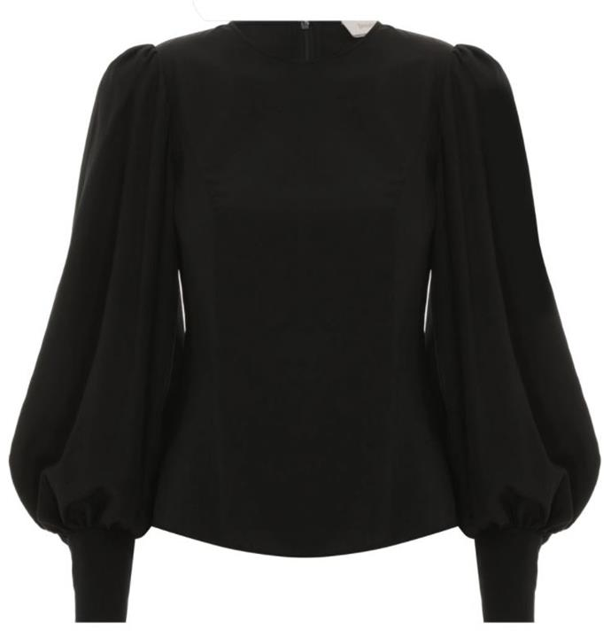 "Silk Billow Sleeve Blouse, $395 by [Zimmermann](https://www.zimmermannwear.com/silk-billow-sleeve-blouse-black.html|target=""_blank""|rel=""nofollow"")."