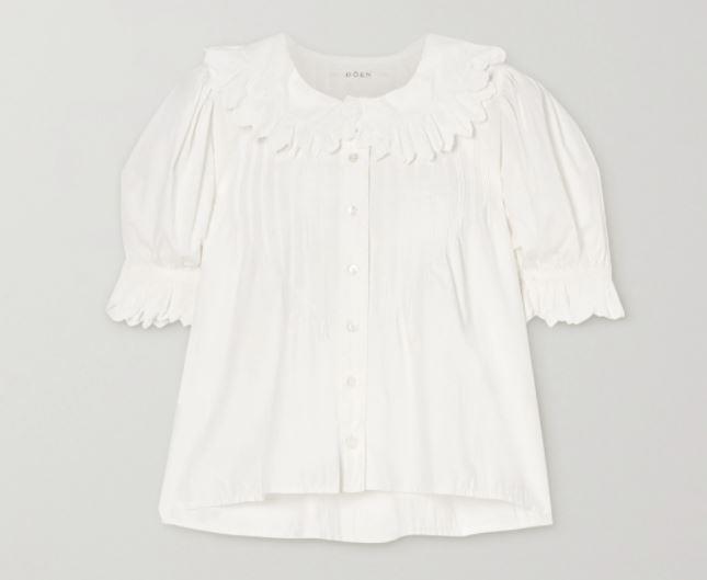 "Rune Scalloped Embroidered Blouse by DÔEN, $324 at [Net-A-Porter](https://www.net-a-porter.com/en-au/shop/product/doen/rune-scalloped-embroidered-cotton-poplin-blouse/1243702|target=""_blank""|rel=""nofollow"")."