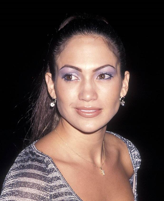 **1997: Metallic eyeshadow**<br><br>  By 1997, bright makeup, and especially metallic eye-shadow, was back in all its glory, as seen here on the then up-and-coming star Jennifer Lopez's shimmery purple lids.