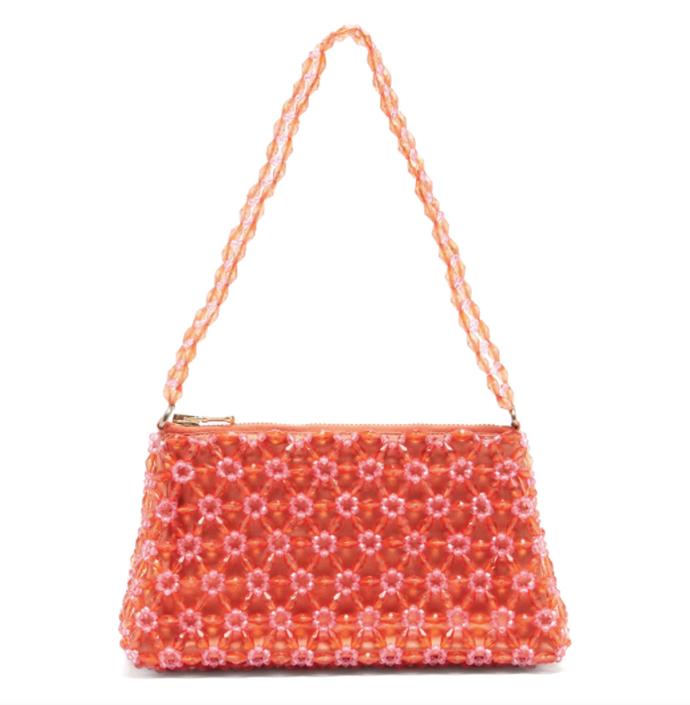"Dawson Floral-Beaded Bag, $715 by [SHRIMPS](https://shrimps.com/products/dawson-bag-ochre|target=""_blank""|rel=""nofollow"")."
