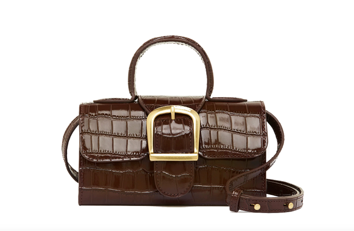 """Mini Satchel by Rylan, $699 at [The Undone](https://www.theundone.com/collections/rylan/products/mini-satchel-dark-brown?variant=32386643918922