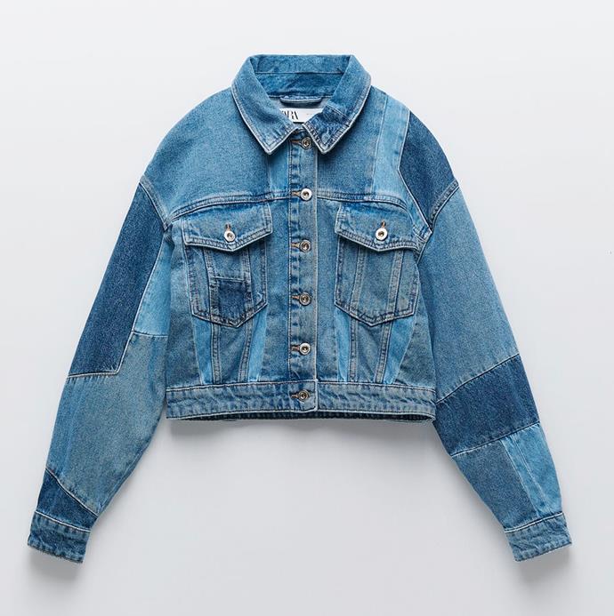 "'Patchwork Denim Jacket', $109 at [ZARA](https://www.zara.com/au/en/patchwork-denim-jacket-p06147161.html?v1=60179386|target=""_blank""|rel=""nofollow"")."