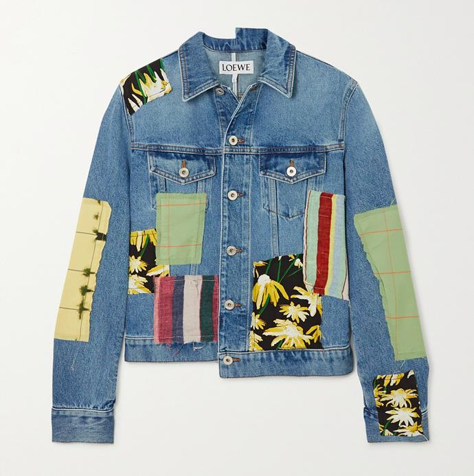 """'Patchwork Denim Printed Cotton and Silk-Blend Jacket' by Loewe, $1510 at [Matches Fashion](https://www.matchesfashion.com/au/products/Loewe-Patchwork-denim-jacket-1315913