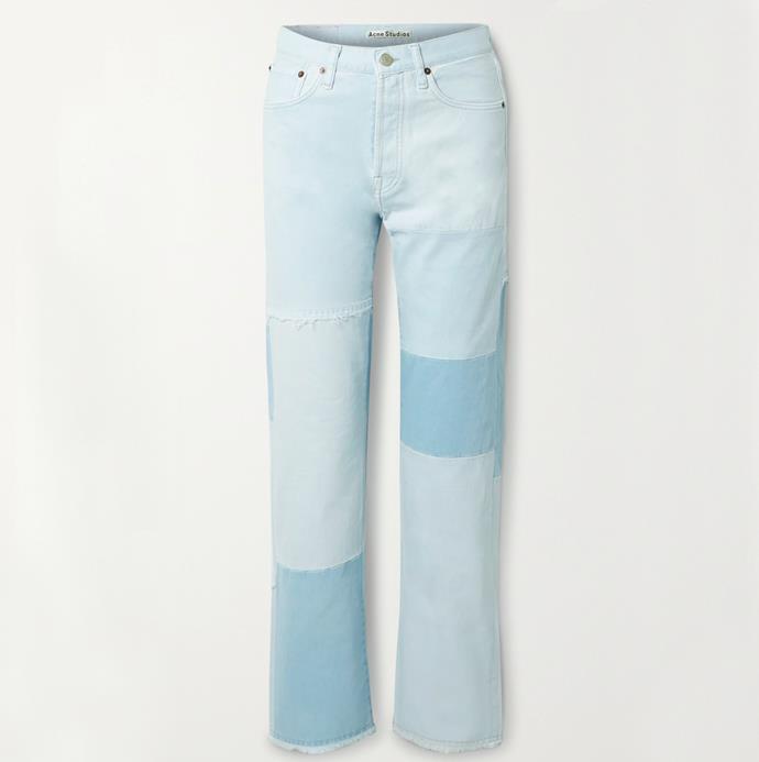 "'+ NET SUSTAIN 1996 frayed patchwork organic high-rise straight-leg jeans' by Acne Studios, $610 at [Net-A-Porter](https://www.net-a-porter.com/en-au/shop/product/acne-studios/net-sustain-1996-frayed-patchwork-organic-high-rise-straight-leg-jeans/1291859|target=""_blank""|rel=""nofollow"")."