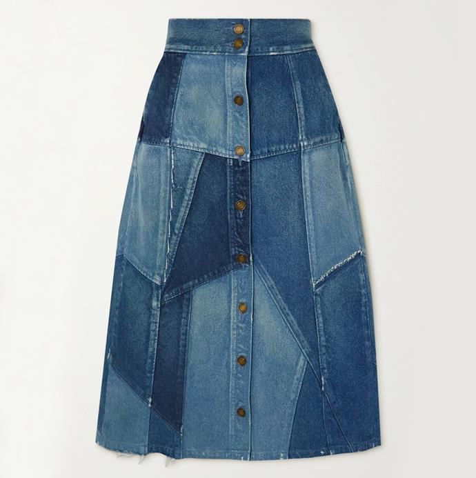 "'Patchwork denim midi skirt' by Saint Laurent, $2737.01 at [Net-A-Porter](https://www.net-a-porter.com/en-au/shop/product/saint-laurent/patchwork-denim-midi-skirt/1265027|target=""_blank""|rel=""nofollow"")."