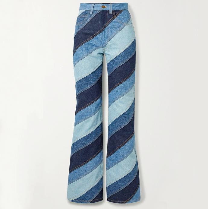 """'Striped patchwork high-rise flared jeans' by Runway Marc Jacobs, $3163.20 at [Net-A-Porter](https://www.net-a-porter.com/en-au/shop/product/runway-marc-jacobs/striped-patchwork-high-rise-flared-jeans/1240000