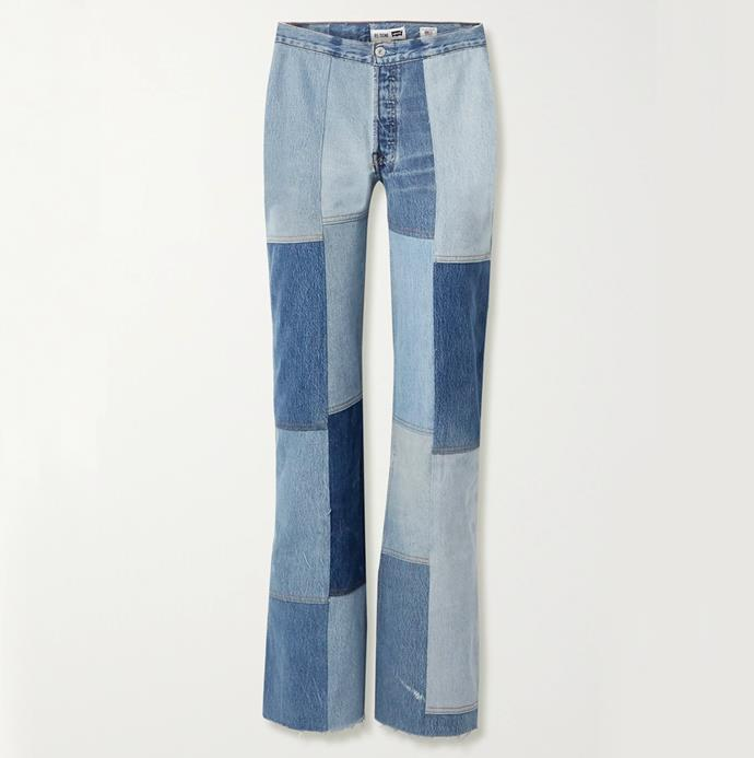 """'+ Amina Muaddi patchwork high-rise flared jeans' by Re/Done, $734.54 at [Net-A-Porter](https://www.net-a-porter.com/en-au/shop/product/re-done/amina-muaddi-patchwork-high-rise-flared-jeans/1238066