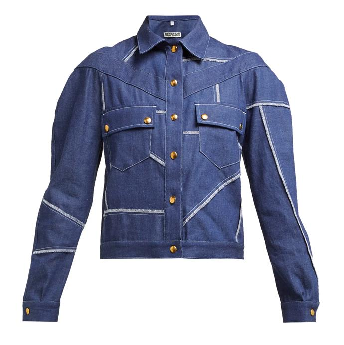 """'Patchwork single-breasted denim jacket' by Symonds Pearmain, $361 at [Matches Fashion.](https://www.matchesfashion.com/au/products/Symonds-Pearmain-Patchwork-single-breasted-denim-jacket-1275001