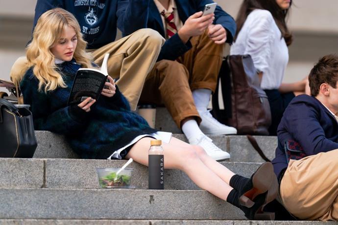 Emily Alyn Lind is seen filming for 'Gossip Girl' outside the Metropolitan Museum of Art in the Upper East Side on November 10, 2020 in New York City.