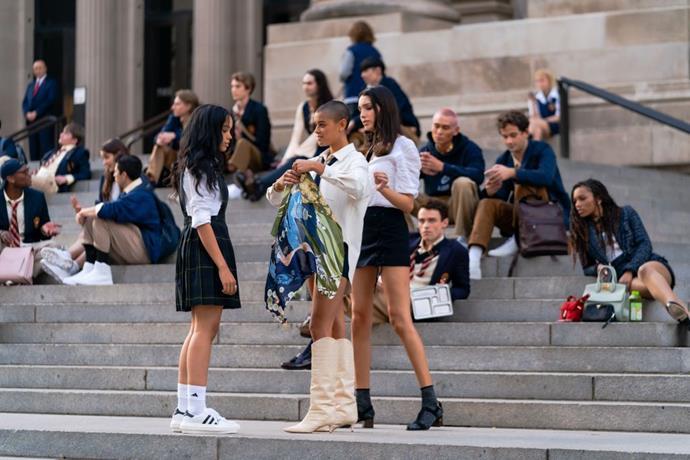 Whitney Peak, Jordan Alexander and Zion Moreno are seen filming for 'Gossip Girl' outside the Metropolitan Museum of Art in the Upper East Side on November 10, 2020 in New York City.