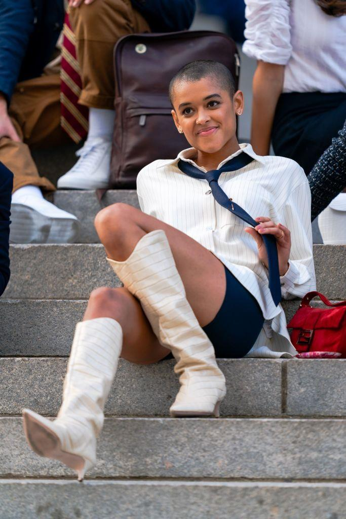 Jordan Alexander is seen filming for 'Gossip Girl' outside the Metropolitan Museum of Art in the Upper East Side on November 10, 2020 in New York City.