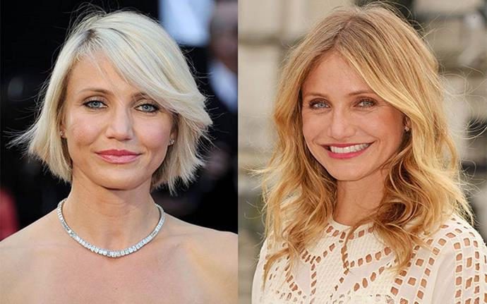 "**Cameron Diaz** <br><br> Diaz got a very short bob in 2012... by accident. ""There was a little misunderstanding. I said, 'Oh I just want a little bit off' … and it went from here to here. I just burst into tears and started crying, and I felt so vulnerable,"" she's said of the trim."