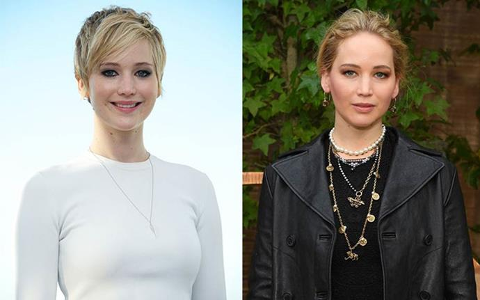 "**Jennifer Lawrence** <br><br> Lawrence's famous pixie cut came as a result of the actress being fed up with her hair. ""I cut it earlier, and it was just kind of like [shoulder-length] and it grew to that awkward, gross length, and I kept putting it into a bun, so I just cut it off. It couldn't have gotten any uglier!"" Lawrence told *Yahoo!*."