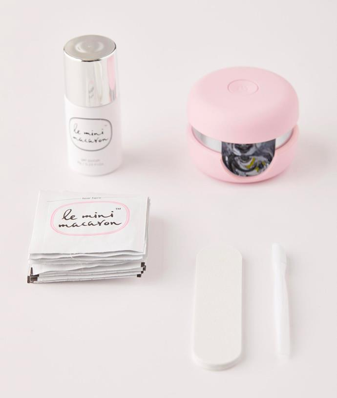 """'Gel Manicure Kit' by Le Mini Macaron, $48 at [Urban Outfitters](https://au.urbanoutfitters.com/en-au/product/le-mini-macaron-gel-manicure-kit/UO-53253258-000?color=rose&size=one-size