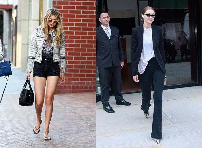 **Gigi Hadid: Herself > Mimi Cuttrell** <br><br> As a teen star on the rise, Hadid switched up her looks from 2013 to 2016 and favoured jeans and t-shirts, girly sundresses and plenty of activewear. However, when she joined forces with young and up-and-coming stylist Mimi Cuttrell (who also works with Kaia Gerber), Hadid immediately lost her sunny Californian surfer girl side and became a little bit grunge, a little bit androgynous, and extremely fashion-forward.