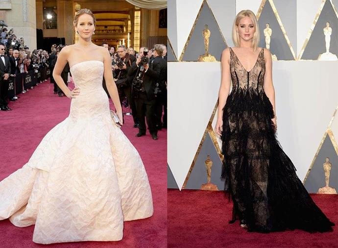 **Jennifer Lawrence: Rachel Zoe > Jill Lincoln and Jordan Johnson** <br><br> Jennifer Lawrence rose to fame with Rachel Zoe by her side, styling her for pivotal career moments like her 2012 Oscars win (left). However, when Zoe's employees Jill Lincoln and Jordan Johnson left the business, Lawrence went with them. Immediately, her look went from Old Hollywood glamour to modern and experimental, including a platinum blonde hairdo to boot.