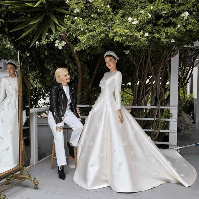 "**Miranda Kerr**<br><br>  Miranda Kerr wearing a [Grace Kelly-inspired Dior gown](https://www.marieclaire.com.au/miranda-kerr-wedding-dress-photos-evan-spiegel|target=""_blank"") to marry Snapchat CEO Evan Spigel in 2017.<br><br>  *Image via [@mirandakerr](https://www.instagram.com/p/BWouRpDACXm/|target=""_blank""|rel=""nofollow"")*"