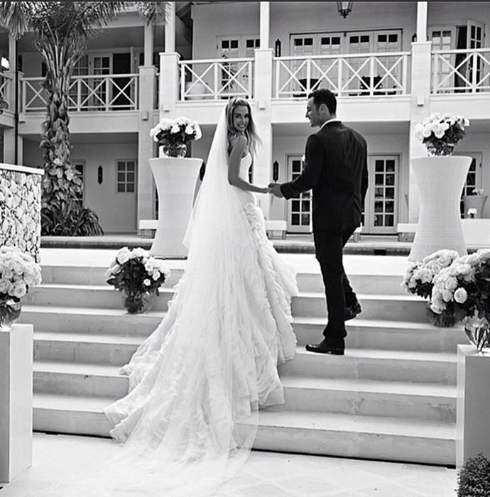 "**Jennifer Hawkins**<br><br>  Jennifer Hawkins wearing a strapless gown co-designed with Toni Maticevski for her Bali wedding to Jake Wall in June 2013.<br><br>  *Image via [@jenhawkins_](https://www.instagram.com/jenhawkins_/|target=""_blank""|rel=""nofollow"")*"