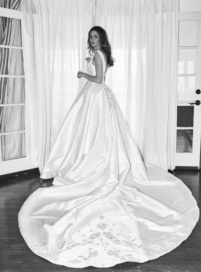 "**Nicole Trunfio**<br><br>  The beautiful train on Nicole Trunfio's Steven Kahlil dress.<br><br>  *Image via [nicoletrunfio.com](https://www.nictrunfio.com/blog/2018/1/25/wedding-bells|target=""_blank""|rel=""nofollow"")*"