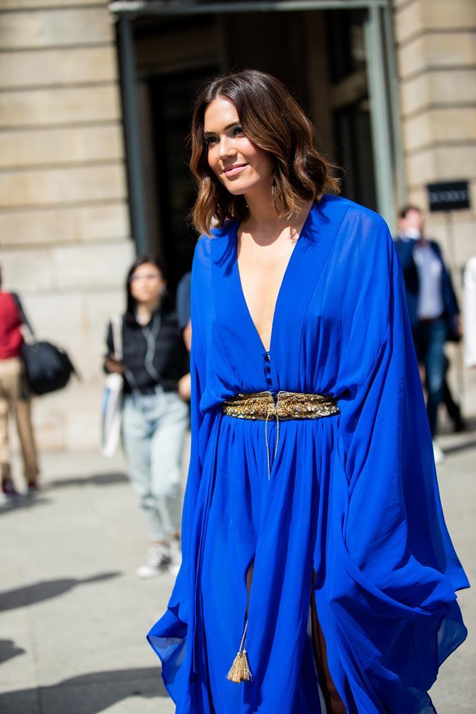 Mandy Moore at Paris Fashion Week Fall/Winter 2020.