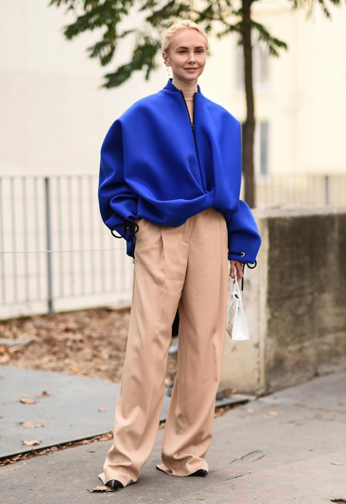 A guest attending Nina Ricci at Paris Fashion Week Spring Summer 2020-2021.