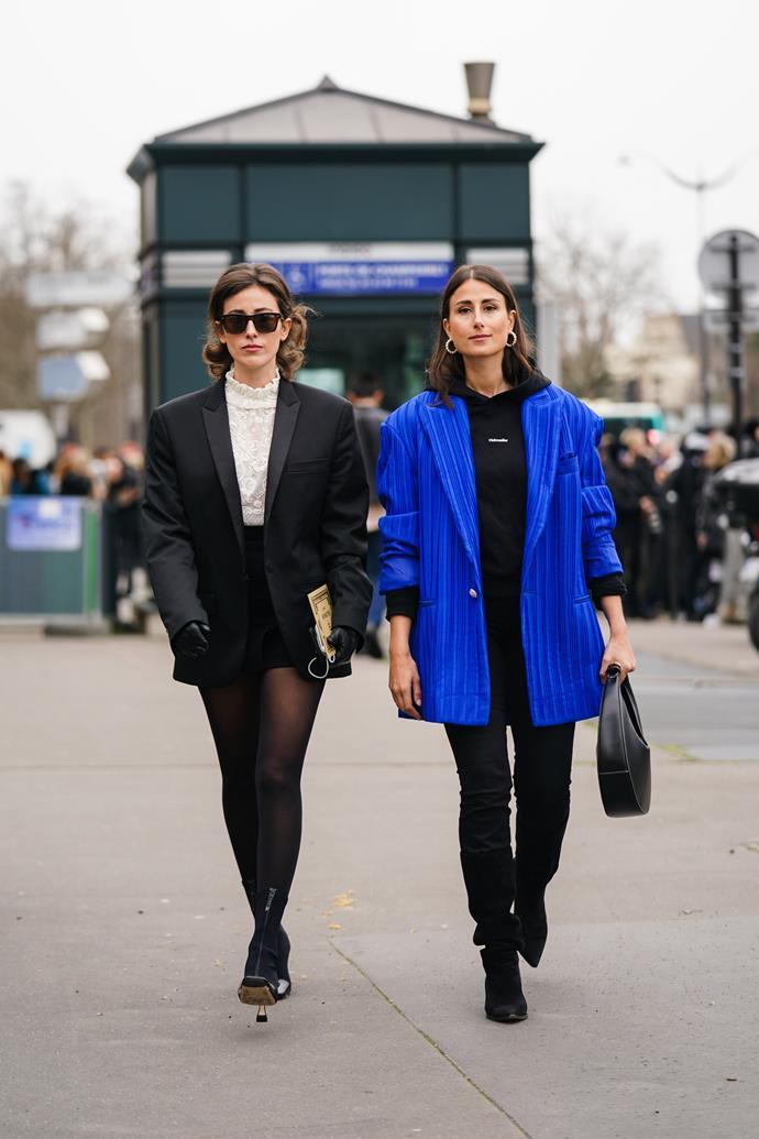 Julia Haghjoo (right) at Paris Fashion Week Womenswear Fall/Winter 2020-2021.